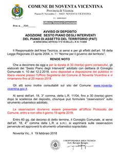 Comune di noventa vicentina home page for Piano di deposito